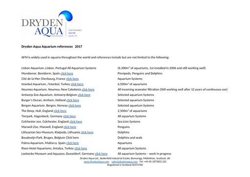 Dryden Aqua Aquarium references