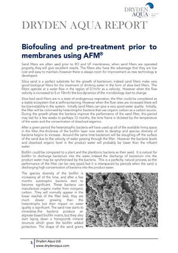 Biofouling and Pretreatment prior to membranes using AFM