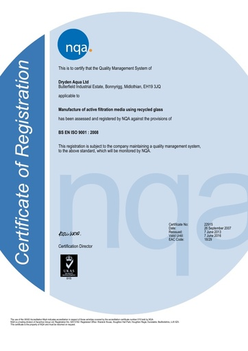 Dryden Aqua Ltd ISO9001 certificate