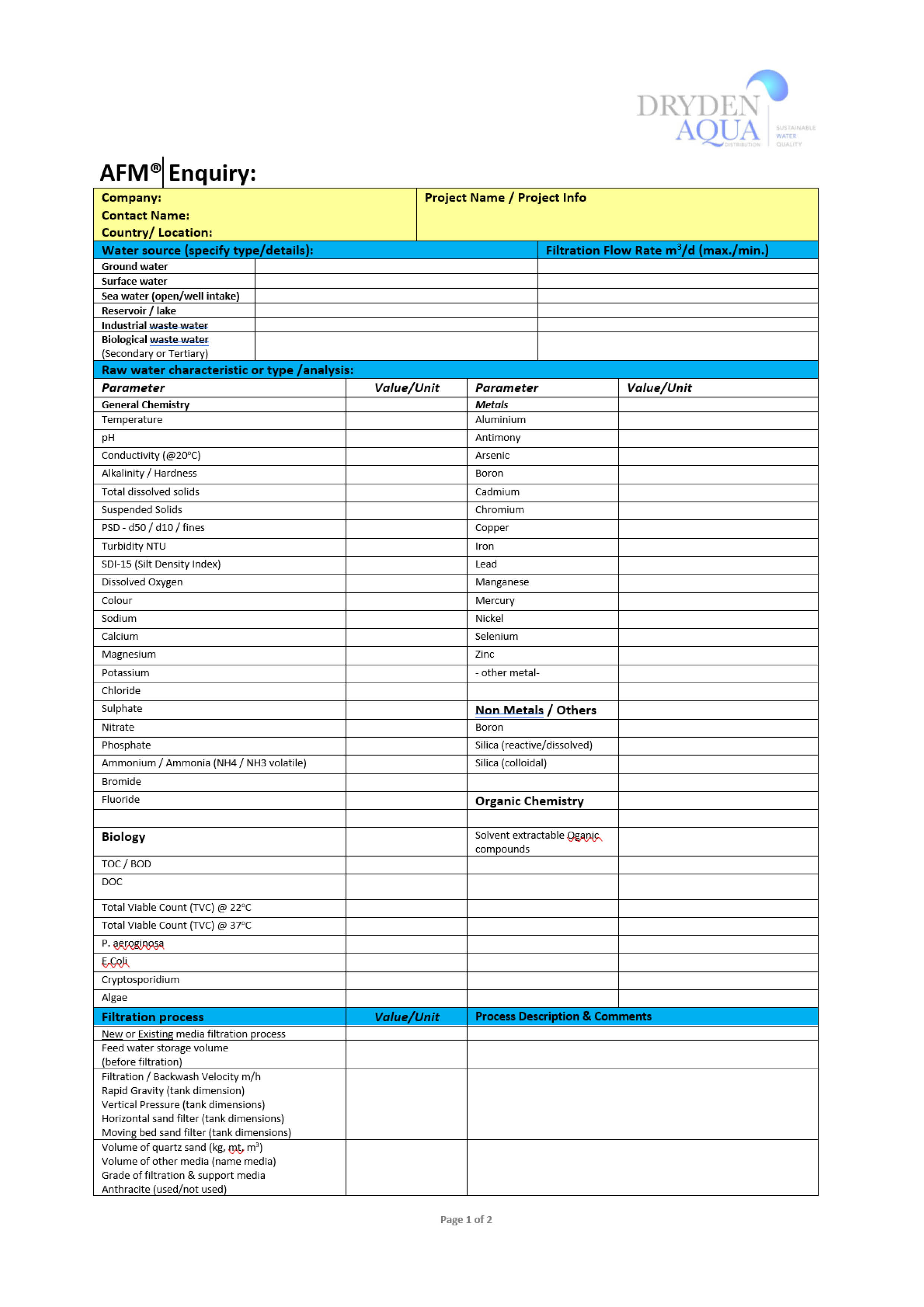 Questionnaire AFM Water and Waste Water